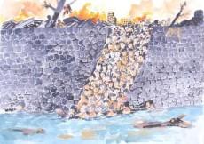 14川に投身する皮膚の垂れ下がったヒバクシャ